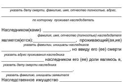 Рисунок 1. Оформление заявления нотариусу о принятии наследства