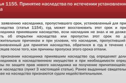 Статья ГК РФ о принятии наследства по истечении срока