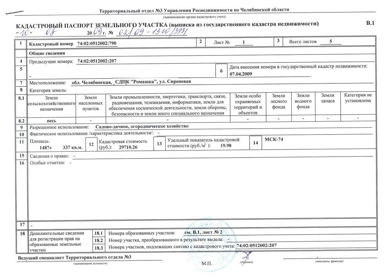 Внесение изменений в кадастровый паспорт земельного участка звездолет имел